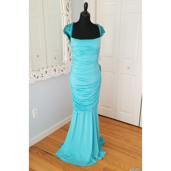 Jovani Dresses & Skirts - SOLD Jovani Blue Beaded Full Length Gown Size 8